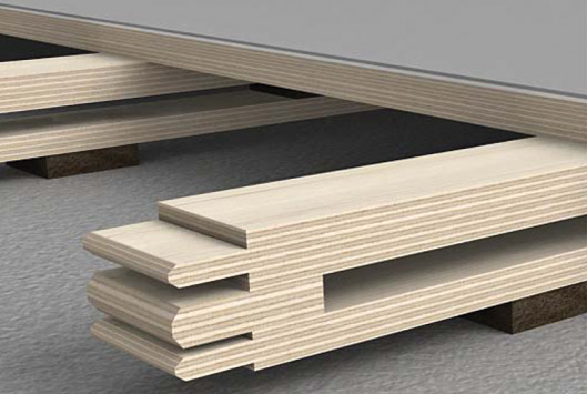SpringFlex Beams Shown With Plywood and QuietStep Surface